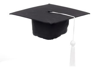 Black Graduation Cap in White background