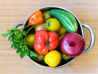 Fresh vegetables in pan