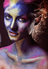 beauty woman with creative make up like Holy celebration in