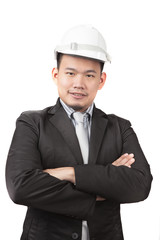 face of asian man civil engineer of construction industry busine