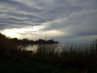 Cloudy scenery at lake