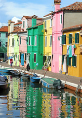 colorful houses of the island of Burano near Venice
