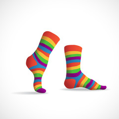 Striped multicolor socks, illustration