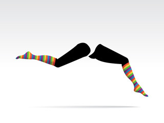 womanÕs legs with striped colorful socks