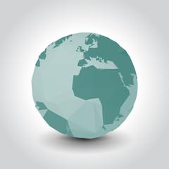 Polygon planet Earth, illustration