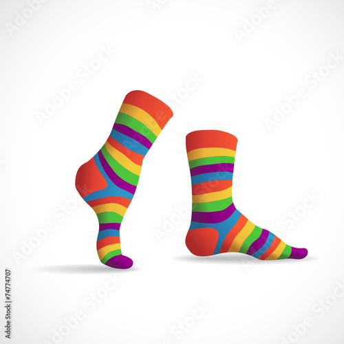 Leinwandbild Motiv Striped multicolor socks, illustration