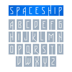 Modern font with monospaced typeface, alphabet