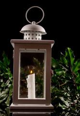 Christmas lantern on black background