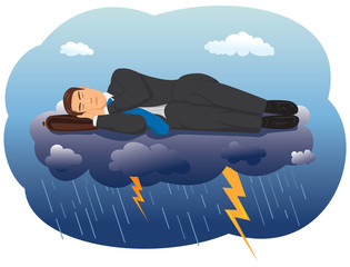 Businessman sleeping on a cloud with lightning
