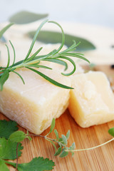 Parmesan cheese with rosemary,close-up