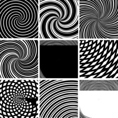 Vector set of twirl black and white backgrounds