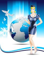 Stewardess travel concept