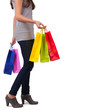 canvas print picture - Young woman with shopping bags on white background