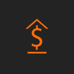 Orange bank icon on black