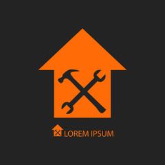 Orange house repair symbol on black