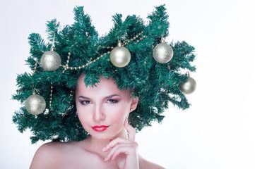 Beautiful Christmas Tree Holiday Hairstyle and Make up.