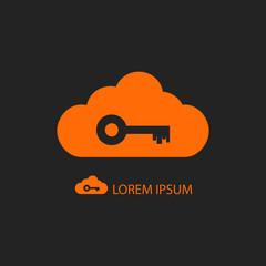 Orange cloud with key on black