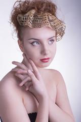 Luxury Golden Makeup. Teen Fashion Girl.