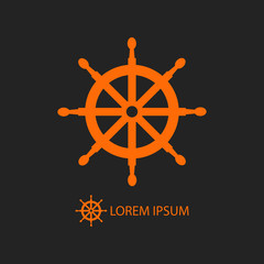 Orange helm as logo on black