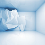 Abstract light blue 3d interior with polygonal relief