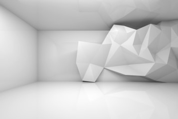 Abstract white 3d interior with polygonal relief