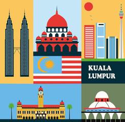 Symbols of Kuala Lumpur Malaysia.
