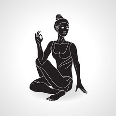 Vector Silhouette of yoga girl