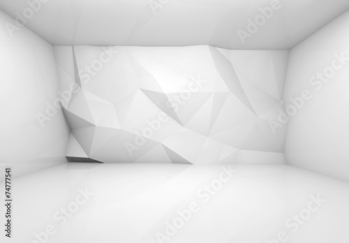 Abstract white 3d interior with polygonal relief pattern