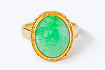 Jade ring isolated on white