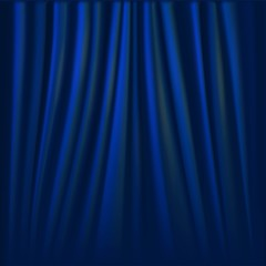 Vector illustration of blue curtain.