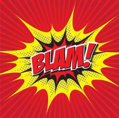 BLAM! wording in comic speech bubble in pop art style