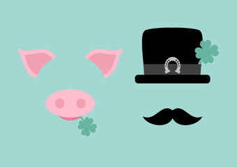 Abstract Pig & Chimney Sweeper Horseshoe Retro
