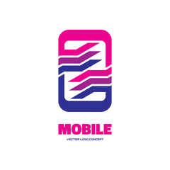 Mobile software - vector logo abstract illustration.