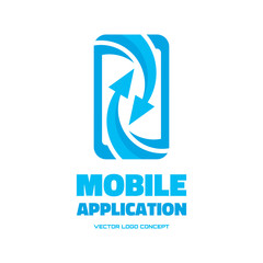 Mobile phone - vector logo. Abstract smartphone with arrows.