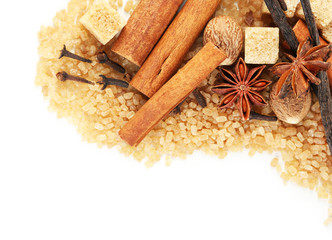 Christmas spices and baking ingredients isolated on white
