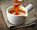 bowl of caramel sauce