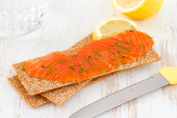 salted salmon with toast and lemon