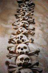 Old Bones And Skulls In Sedlec Ossuary (Kostnice), Kutna Hora, C