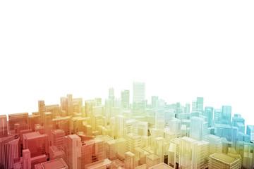 Aerial cityscape of futuristic city