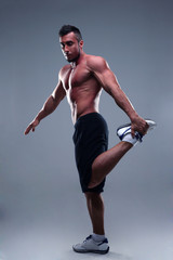 Portrait of a muscular man practicing body combat