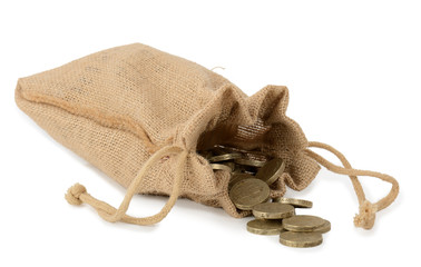 Canvas bag of money with  coins on isolated on white.