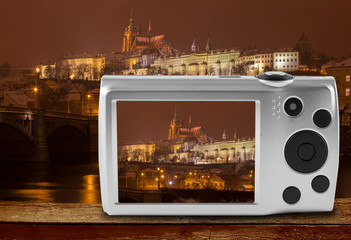 Digital camera photographing Prague castle, Czech Republic