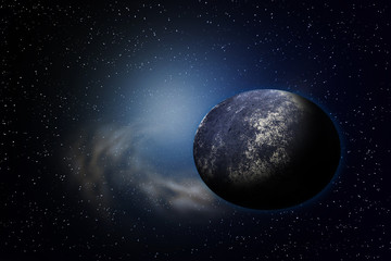 Planet earth with flare in space