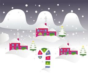 Navidad_Paisaje nevado de noche