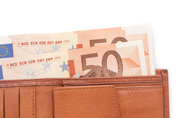 leather wallet with money