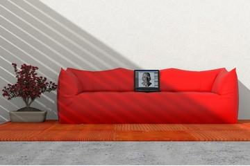 Arredo 3D divano e computer