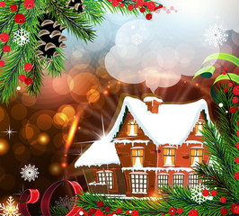 House on abstract Christmas background