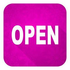 open violet flat icon, christmas button