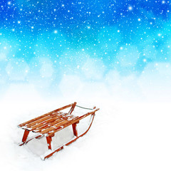 Wooden Sledge in the snow