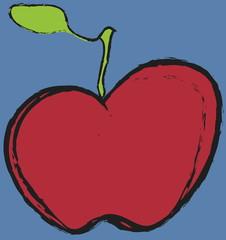 cartoon red apple,  illustration